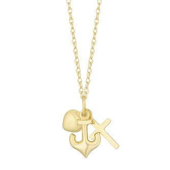 Together Silver & 9ct Bonded Gold Heart, Anchor, X Pendant - Product number 3153347