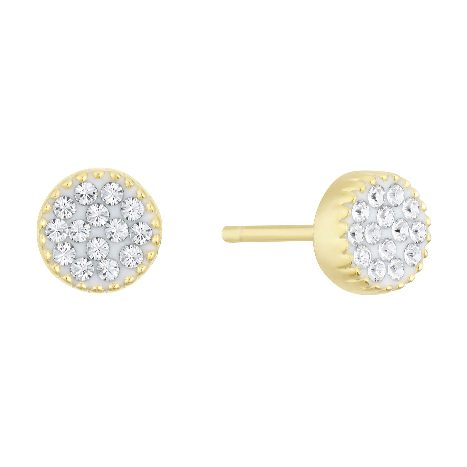Evoke Silver & Gold Plated Crystal Round Stud Earrings - Product number 3153525