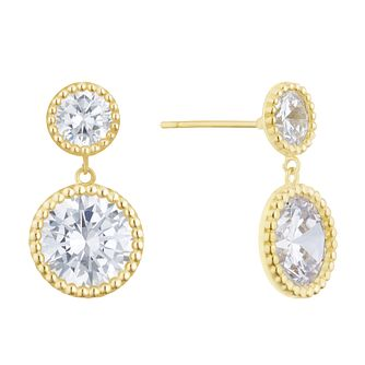9ct Yellow Gold Cubic Zirconia Round Milgrain Drop Earrings - Product number 3153649