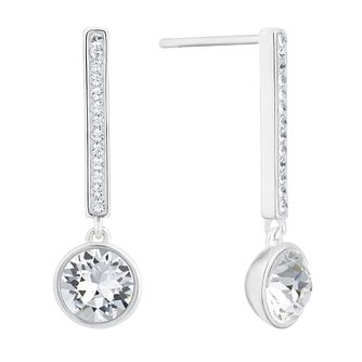 Evoke Silver & Rhodium Plated Crystal Bar Drop Earrings - Product number 3153797