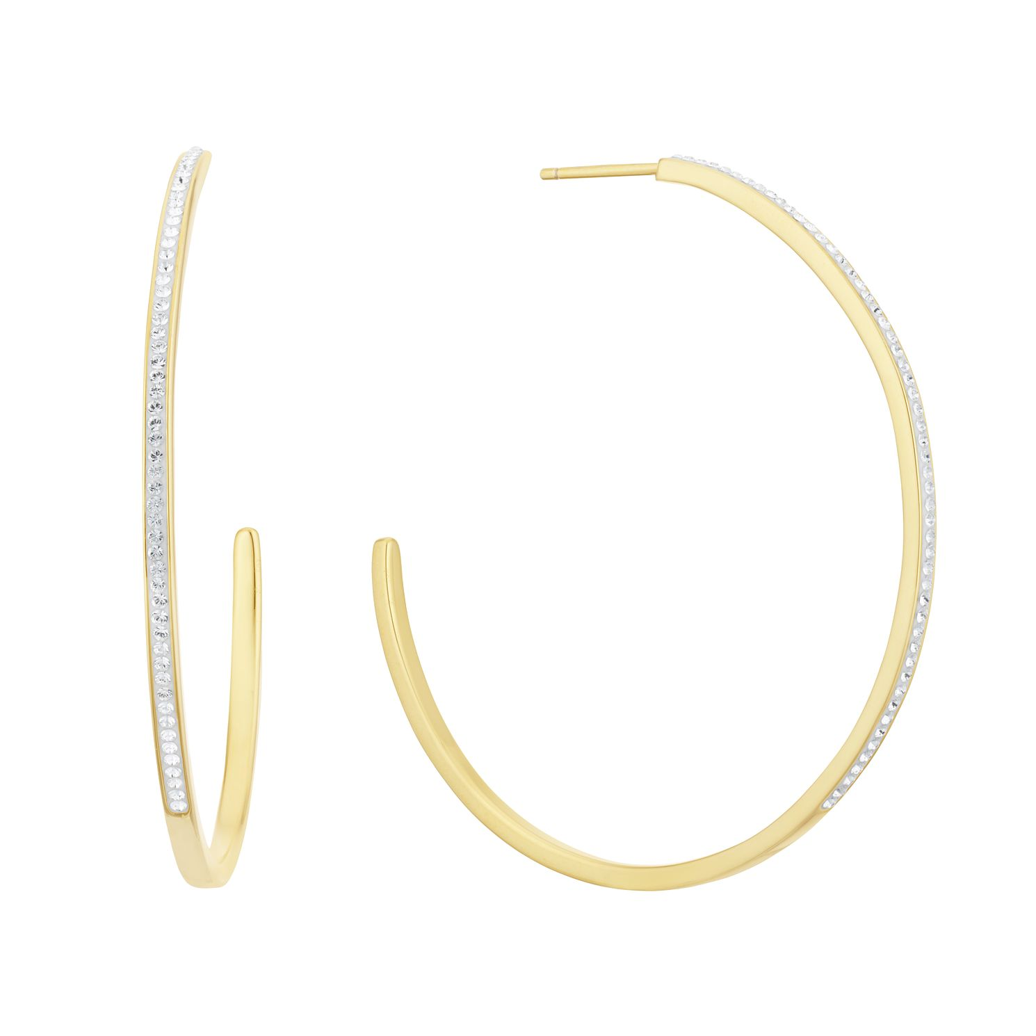 Evoke Silver Gold Plated Crystal 3/4 Hoop Earrings - Product number 3153878