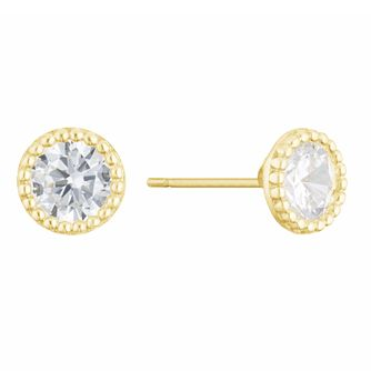 9ct Yellow Gold Cubic Zirconia Round Milgrain Stud Earrings - Product number 3153983
