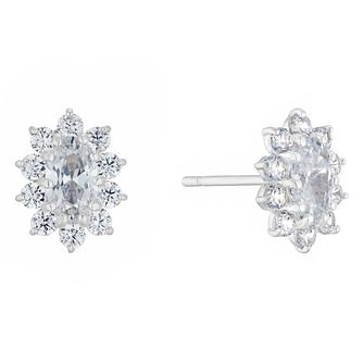 9ct White Gold Cubic Zirconia Oval Cluster Stud Earrings - Product number 3154009