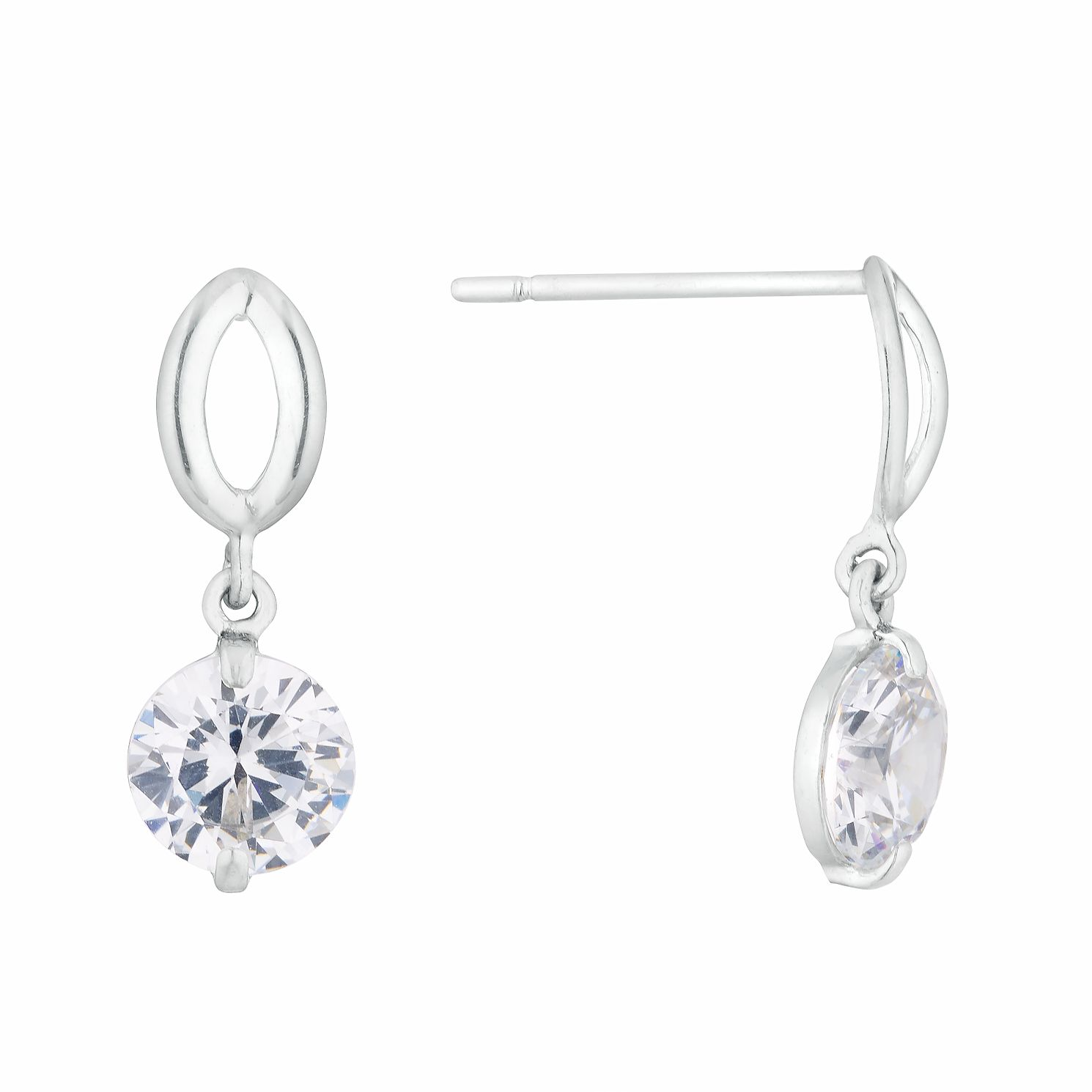 9ct White Gold Cubic Zirconia Open Oval Drop Earrings - Product number 3154017