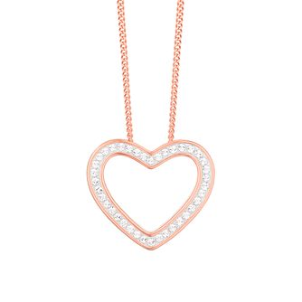 Evoke Silver & 9ct Rose Gold Plated Crystal Heart Pendant - Product number 3154270