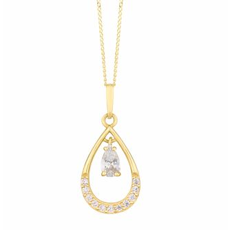 9ct Yellow Gold Cubic Zirconia Teardrop Pendant - Product number 3154319