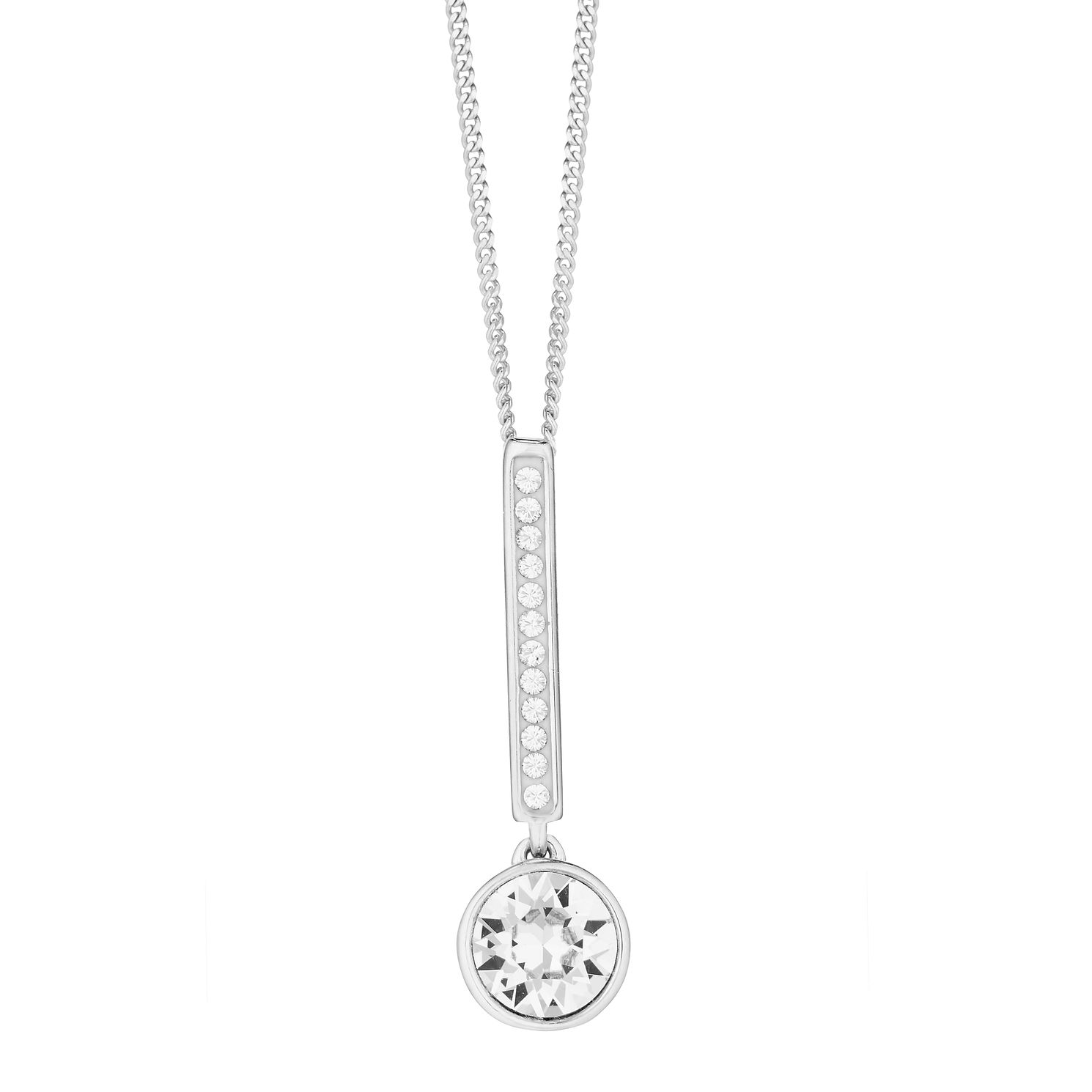 Evoke Silver & Rhodium Plated Crystal Bar Drop Pendant - Product number 3154327