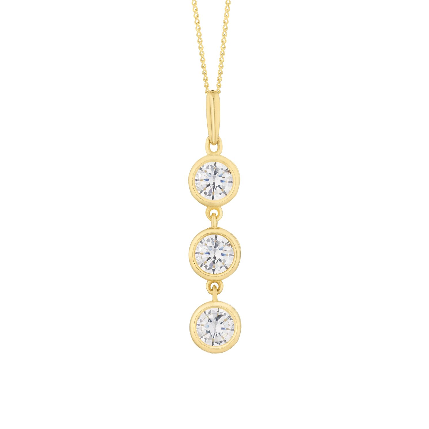 9ct Yellow Gold Triple Cubic Zirconia Drop Pendant - Product number 3154351