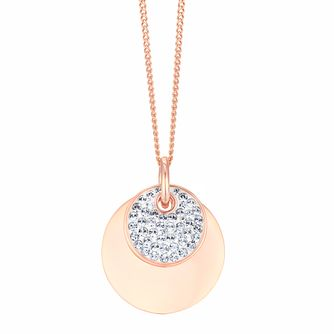 Evoke Silver & 9ct Rose Gold Plated Crystal Disc Pendant - Product number 3154394