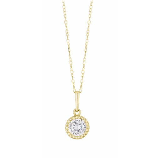 9ct Yellow Gold Cubic Zirconia Round Milgrain Pendant - Product number 3154416