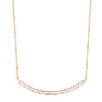 Evoke Silver & 9ct Rose Gold Plated Crystal Bar Necklace - Product number 3154467