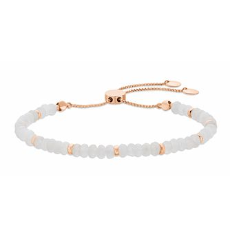 Rose Gold Plated, White Quartz Beaded Adjustable Bracelet - Product number 3154483