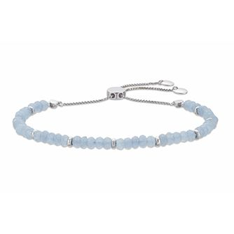 Rhodium Plated, Light Blue Quartz Beaded Adjustable Bracelet - Product number 3154505