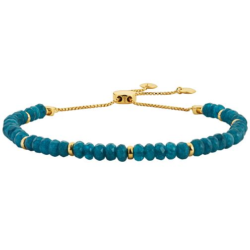 Yellow Gold Plated, Blue Quartz Beaded Adjustable Bracelet - Product number 3154653