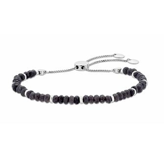 Rhodium Plated, Grey Quartz Beaded Adjustable Bracelet - Product number 3154661