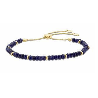 Yellow Gold Plated, Navy Quartz Beaded Adjustable Bracelet - Product number 3154688