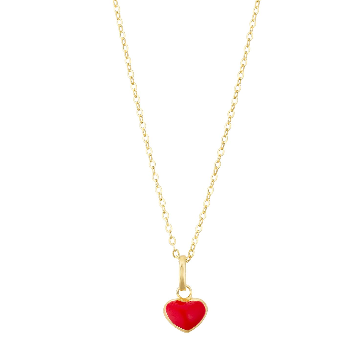 Kids' 9ct Yellow Gold Red Enamel Heart Pendant - Product number 3156990