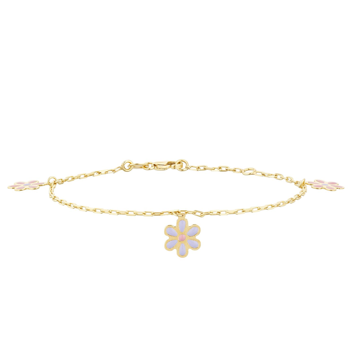 Kids' 9ct Yellow Gold 3 Flower Charm Bracelet - Product number 3157059
