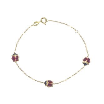 Kids' 9ct Yellow Gold Ladybird Bracelet - Product number 3157083