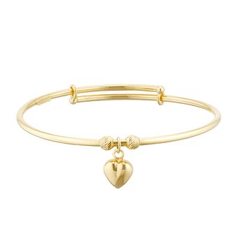 Kids' 9ct Yellow Gold Heart Charm Expandable Bangle - Product number 3157148