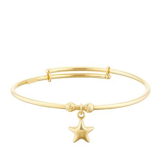 Kids' 9ct Yellow Gold Star Charm Expandable Bangle - Product number 3157172