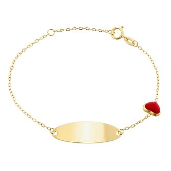 Kids' 9ct Yellow Gold Red Heart ID Bracelet - Product number 3157199