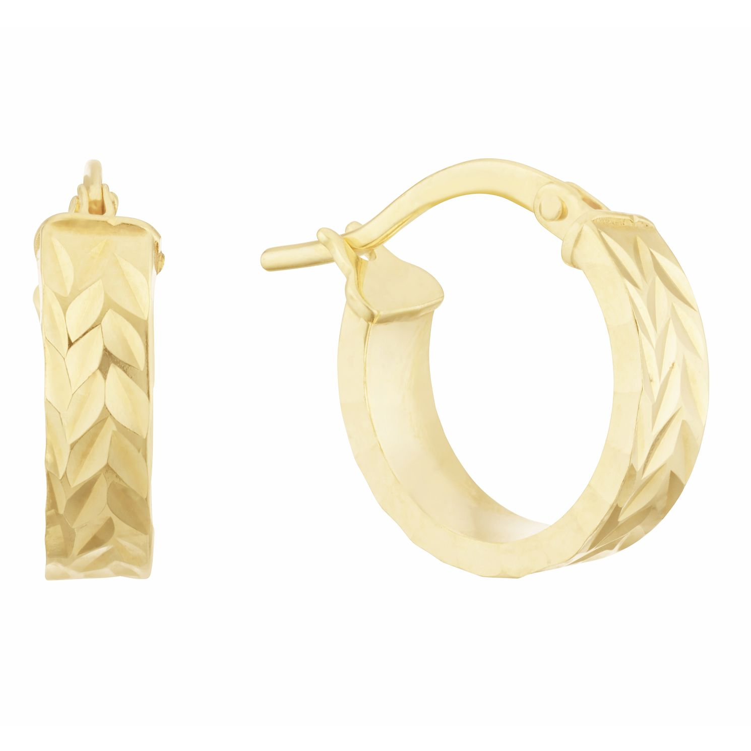 Together Silver & 9ct Bonded Gold Diamond Cut Hoop Earrings - Product number 3157369