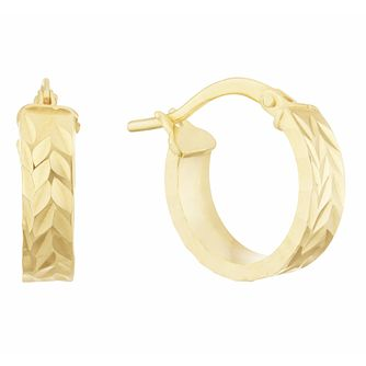 Together Silver & 9ct Bonded Gold Dia/Cut 10mm Hoop Earrings - Product number 3157369