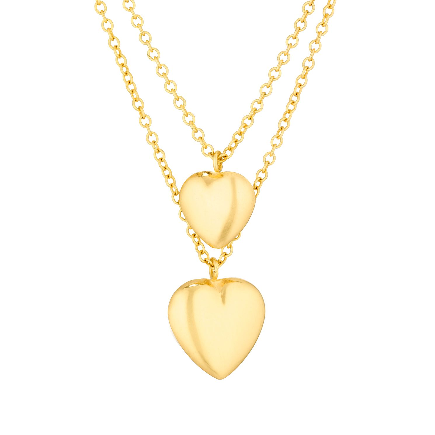 Together Silver & 9ct Bonded Gold Double Heart Necklace - Product number 3157423