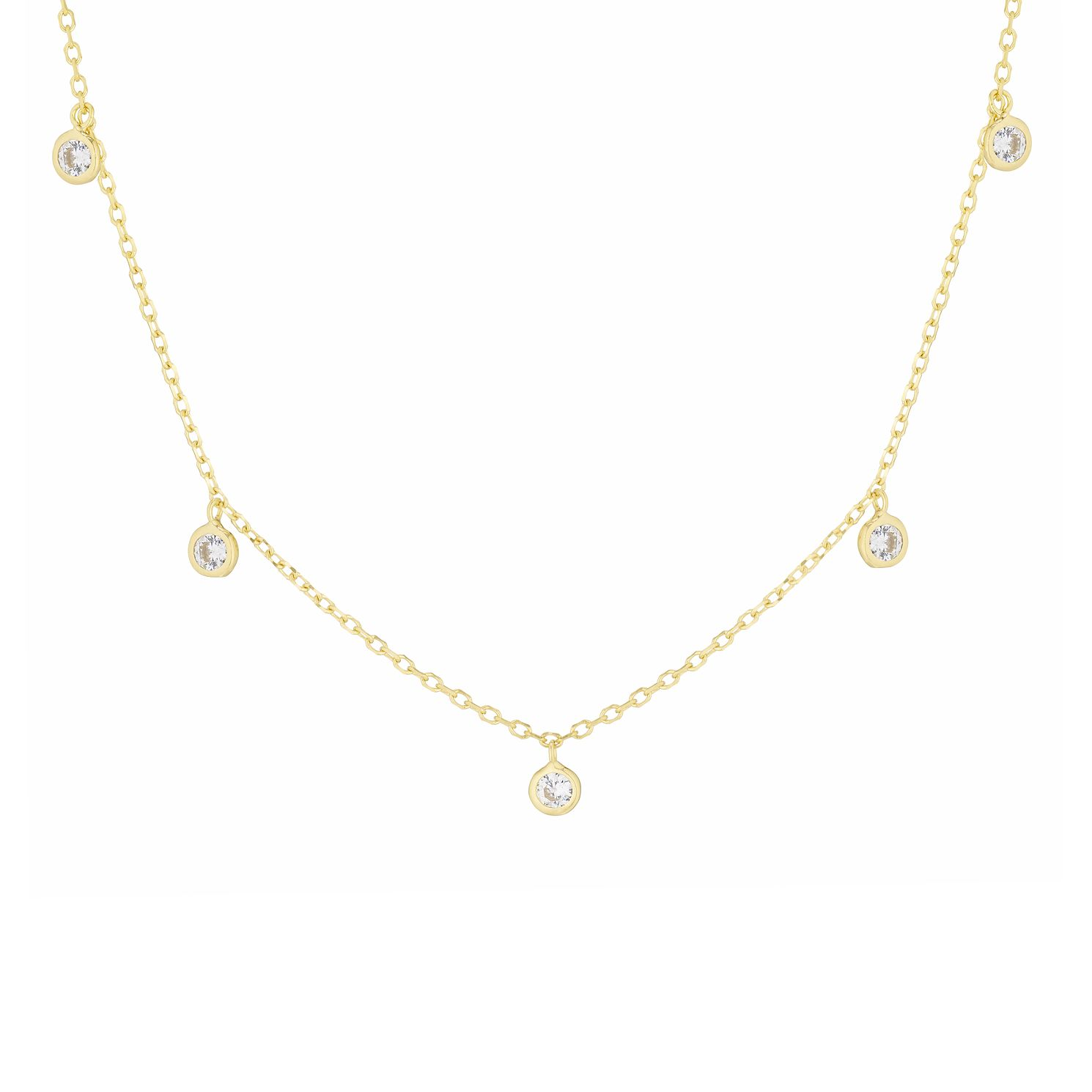 9ct Yellow Gold Cubic Zirconia Drop Necklace - Product number 3157431