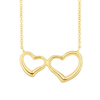 Together Silver & 9ct Bonded Gold Double Heart Necklace - Product number 3157458