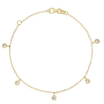 9ct Yellow Gold Cubic Zirconia Drop Bracelet - Product number 3157512