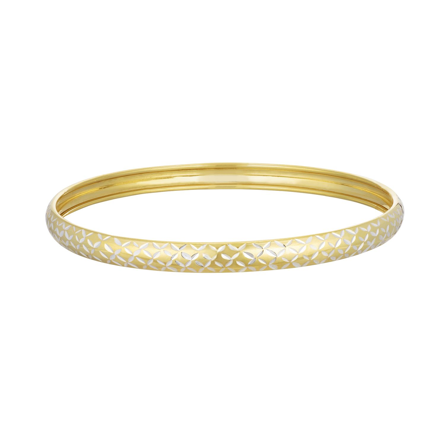 Together Silver & 9ct Bonded Gold Diamond Cut 5mm Bangle - Product number 3157520
