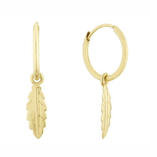 9ct Yellow Gold 10mm Feather Charm Sleeper Earrings - Product number 3162109