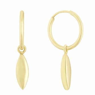 9ct Yellow Gold Long Drop 10mm Sleeper Earrings - Product number 3164543