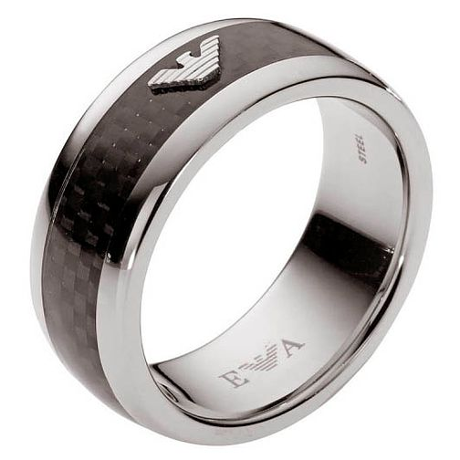 Emporio Armani Men's Stainless Steel & Carbon Fibre Ring U - Product number 3164551