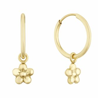 9ct Yellow Gold 10mm Flower Charm Sleeper Earrings - Product number 3164748