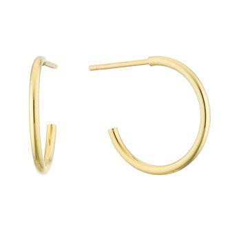9ct Yellow Gold 15mm Skinny Hoop Earrings - Product number 3164772