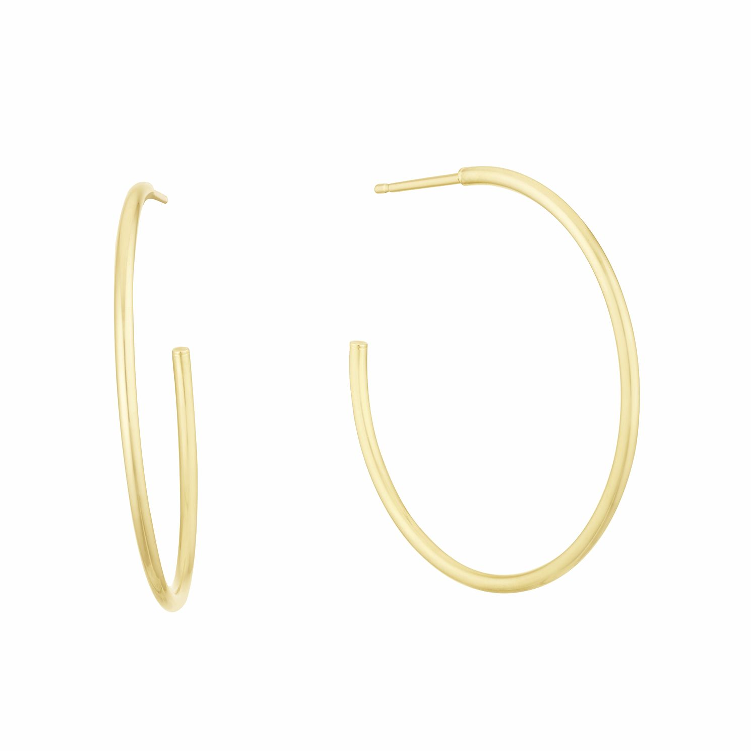 9ct Yellow Gold 30mm Skinny Hoop Earrings - Product number 3164799