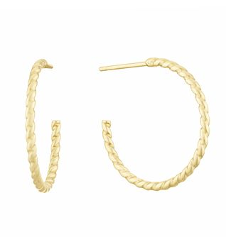 9ct Yellow Gold 20mm Twisted Hoop Earrings - Product number 3164802