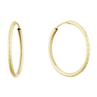9ct Yellow Gold Diamond Cut 20mm Sleeper Earrings - Product number 3164837