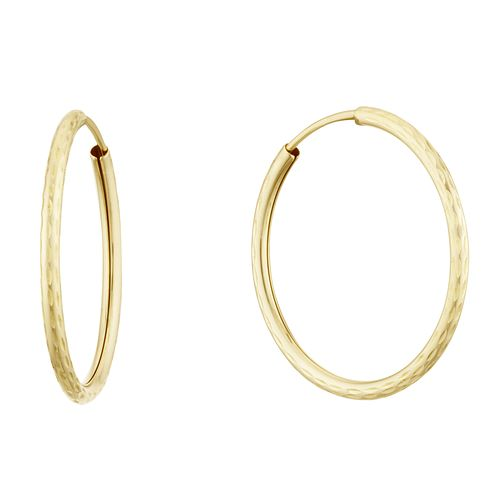 9ct Yellow Gold 20mm Diamond Cut Sleeper Earrings - Product number 3164837