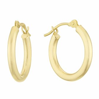 9ct Yellow Gold 10mm Creole Hoop Earrings - Product number 3164888