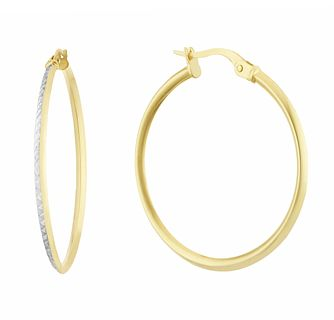 9ct Two Tone Gold 25mm Diamond Cut Creole Hoop Earrings - Product number 3164918