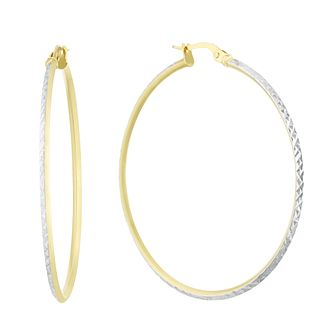 9ct Two Tone Gold Diamond Cut 40mm Hoop Earrings - Product number 3164926