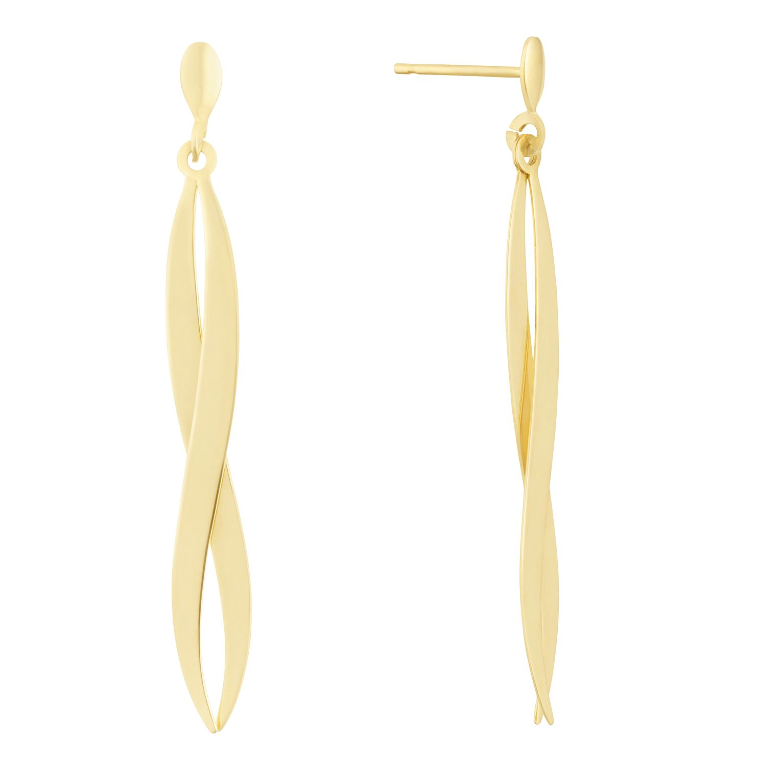 9ct Yellow Gold Double Wave Drop Earrings - Product number 3164950
