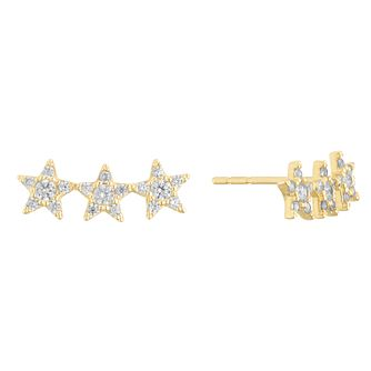 9ct Yellow Gold Cubic Zirconia Triple Star Stud Earrings - Product number 3164969