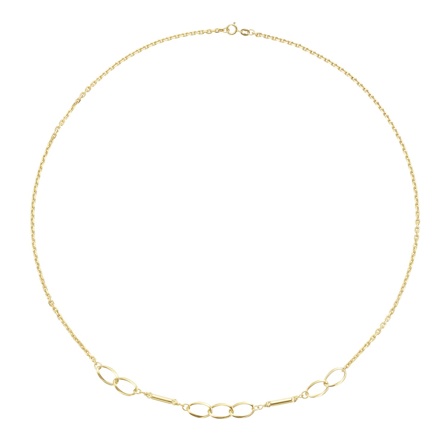 9ct Yellow Gold Bar & Link Necklace - Product number 3165329