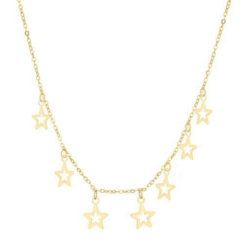 9ct Yellow Gold Star Charm Necklace - Product number 3165361