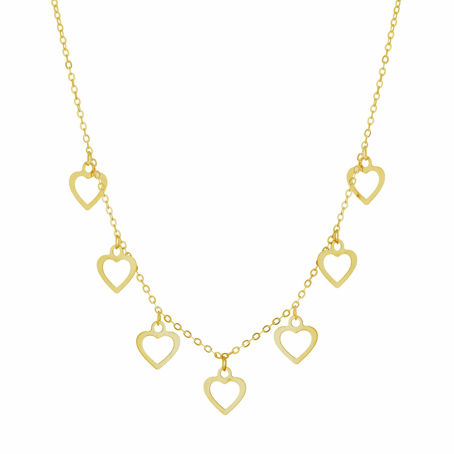9ct Yellow Gold Heart Charm Necklace - Product number 3165388